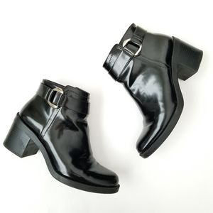 Zara patent black buckle heeled ankle boots Sz 38